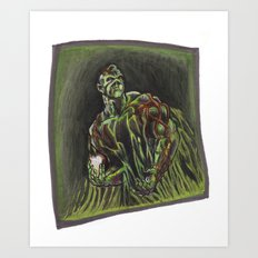 Swamp Thing on a lunch break Art Print