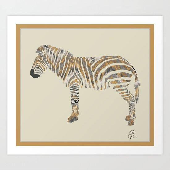 Chevron Zebra Art Print