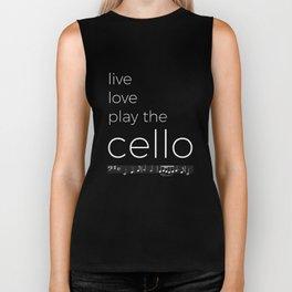 Live, love, play the cello (dark colors) Biker Tank