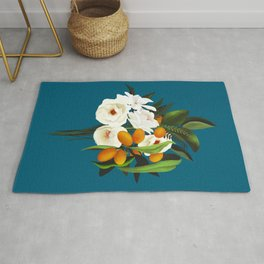 White Oranges Bouquet Rug