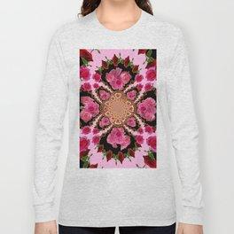 BLACK-PINK GARDEN ROSES MANDALA Long Sleeve T-shirt