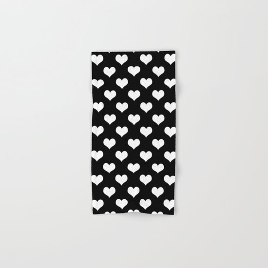 Hearts of Love Black & White Hand & Bath Towel