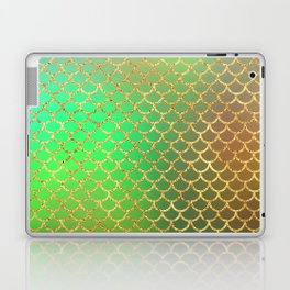 Luxurious Greens and Gold Mermaid Scale Pattern Laptop & iPad Skin