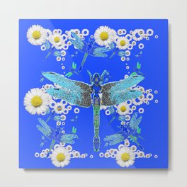 BLUE DRAGONFLIES WHITE DAISY FLOWERS  ART Metal Print