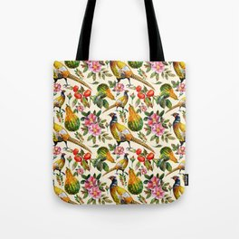Vintage pink orange yellow ivory watercolor birds roses floral Tote Bag