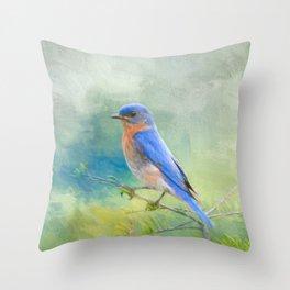 Bluebird In The Garden Throw Pillow