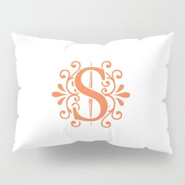 Monogram Letter H in Orange Pillow Sham