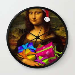 Mona Lisa Santa Claus Wall Clock