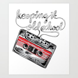 Keeping it old school boombox tape 80s music shirt Art Print