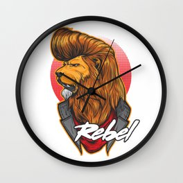 The rebel Lion wiht pomade hair Wall Clock