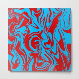 Red and Blue Oil Spill Metal Print