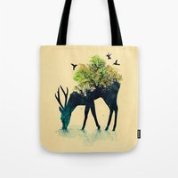green Tote Bags featuring Watering (A Life Into Itself) by Picomodi