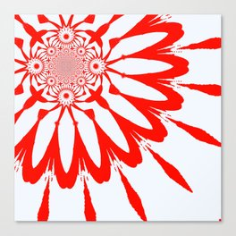 The Modern Flower White & Red Canvas Print