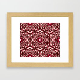 Red geometric Mandala Rich Ornament Framed Art Print