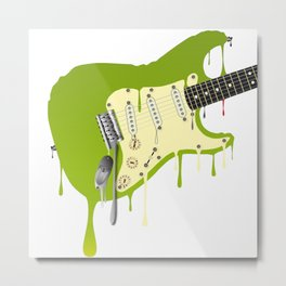 Melting Guitar Metal Print