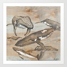 Whales. Ink and acrylic on birch. Art Print