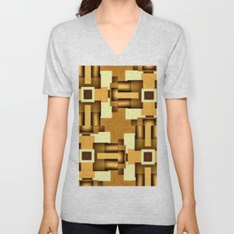 Gold Beige Pipe System,Streampunk Unisex V-Neck