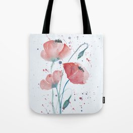 Red poppies in the sun floral watercolor painting Tote Bag