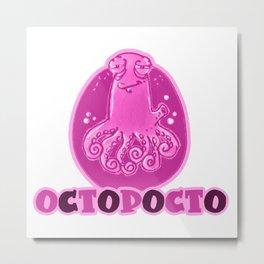 octopocto cartoon style funny octopus Metal Print