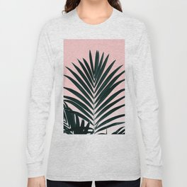 Tropical Green palm tree leaf blush pink gradient photography Long Sleeve T-shirt