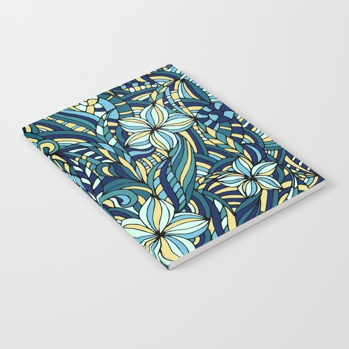 Floral blue ornament Notebook