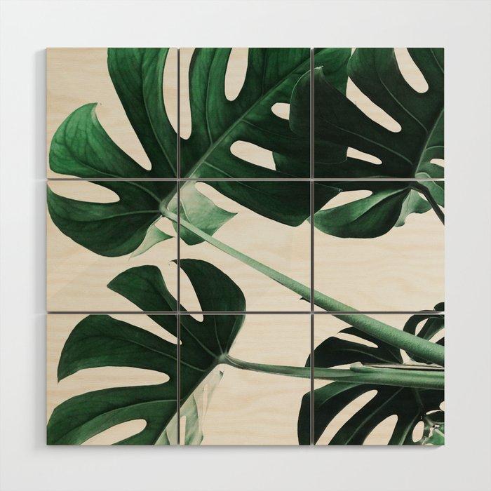 Monstera, Leaves, Plant, Green, Scandinavian, Minimal, Modern, Wall art Wood Wall Art
