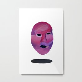 Pink and Purple Floating Face Metal Print