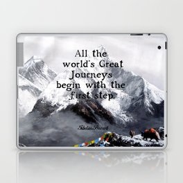 All the world's Great Journeys Motivational Tibetan Proverb With Panoramic View Of Everest Mountain Laptop & iPad Skin