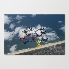 Skydive Formation over Sylt Canvas Print