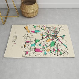 Colorful City Maps: Louisville, Kentucky Rug
