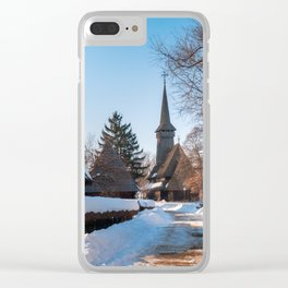 Picturesque street covered in snow at the Village Museum in Bucharest Clear iPhone Case