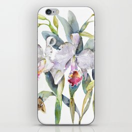 Vintage White Cattleya Orchids and Moth Poster Botanical Design iPhone Skin