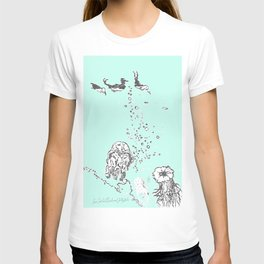 Two Tailed Duck and Jellyfish Mint Green T-shirt
