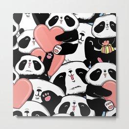 Panda design greeting card for valentine's day Metal Print