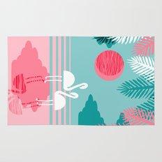 Chill Vibes - memphis retro throwback 1980s 80s neon pop art flamingo paradise socal vacation  Rug