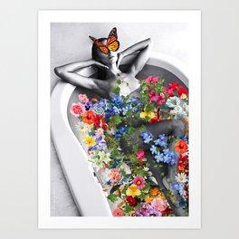 Bath of flowers Art Print