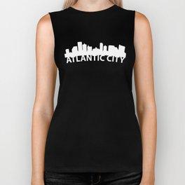 Curved Skyline Of Atlantic City NJ Biker Tank