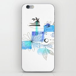 Simple Lines Blue Flowers iPhone Skin