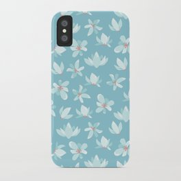 Elegant pastel blue white coral modern floral illustration iPhone Case