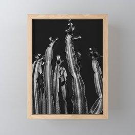 Cactus - black and white Framed Mini Art Print