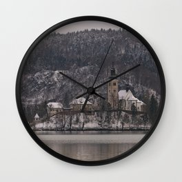 Bled Island Dusted With Snow Wall Clock