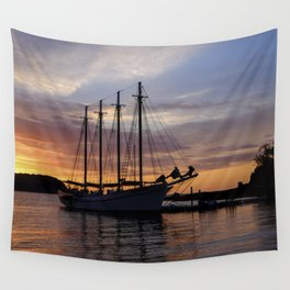 Schooner at sun rise Wall Tapestry