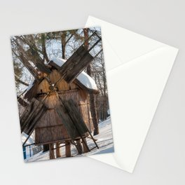 Winter Romanian postcard with windmills Stationery Cards
