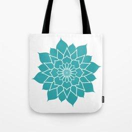 Teal mandala flower, geometrical floral pattern Tote Bag