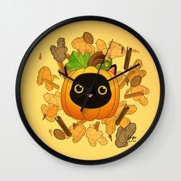 Pumpkin Spice Cat Wall Clock