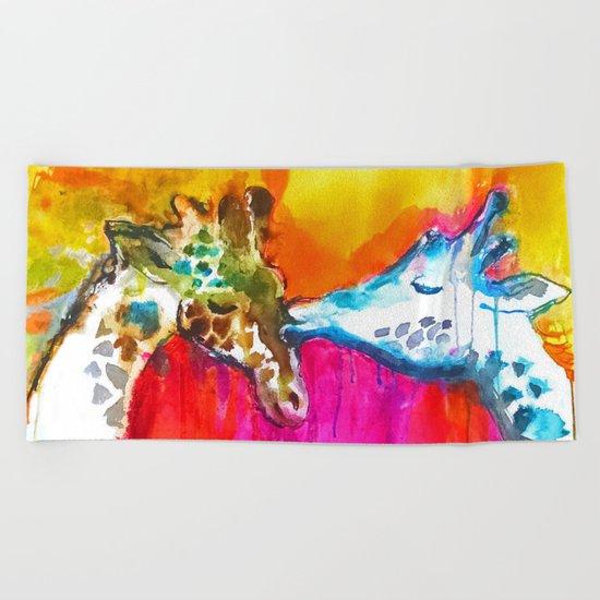 Giraffe Kiss Beach Towel