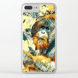 AnimalArt_OrangUtan_20170601_by_JAMColorsSpecial Clear iPhone Case