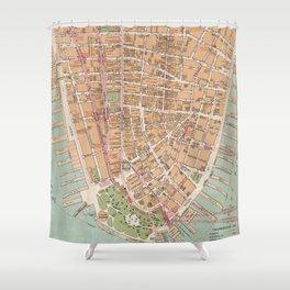 Vintage Map of Lower Manhattan (1921) Shower Curtain