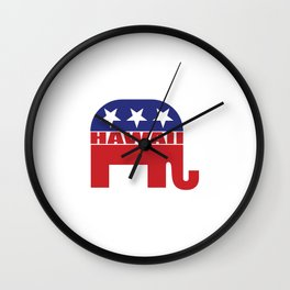Hawaii Republican Elephant Wall Clock