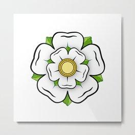 White Rose of York Flower, Blue Flag Heraldy Yorkshire Metal Print